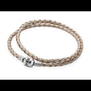 Champagne Pandora Double Braided Leather Bracelet
